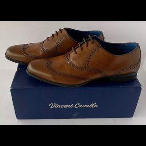 Vinncent Cavallo Wing Tip Shoes Cognac Size 11